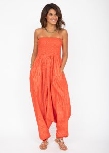 Cotton Printed 2 in 1 Maxi Harem Trouser & Bandeau Jumpsuit Orange Zig Zag Print