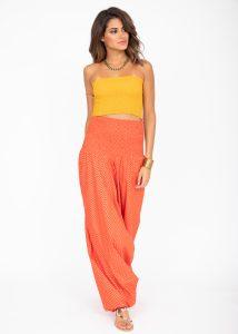 Cotton Printed 2 in 1 Maxi Harem Trouser & Bandeau Jumpsuit Orange Zig Zag Print