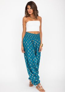Cotton Printed 2 in 1 Maxi Harem Trouser & Bandeau Jumpsuit Turquoise Gold Print
