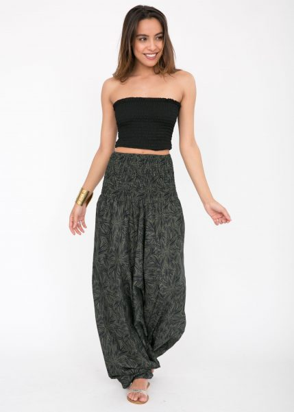 Cotton Printed Maxi 2 in 1 Harem Trouser Jumpsuit Leaves Print