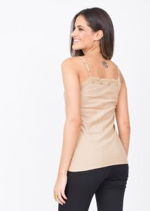 Cotton Silk Lace Camisole Cami Nude