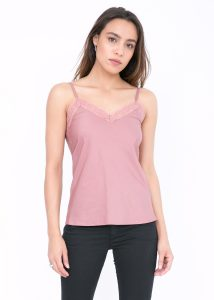 Cotton Silk Lace Camisole Cami Pink