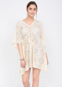 Crochet Lace Ecru Cotton Kaftan