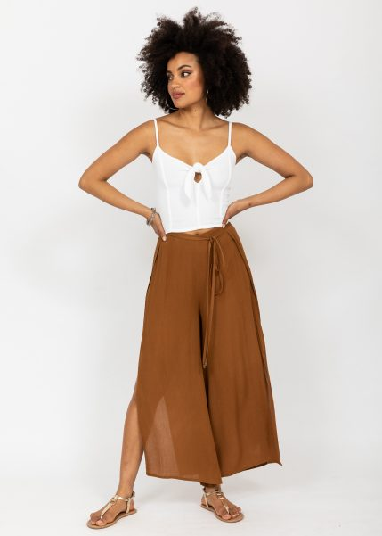 Crop Top Cami Front Tie Keyhole in White