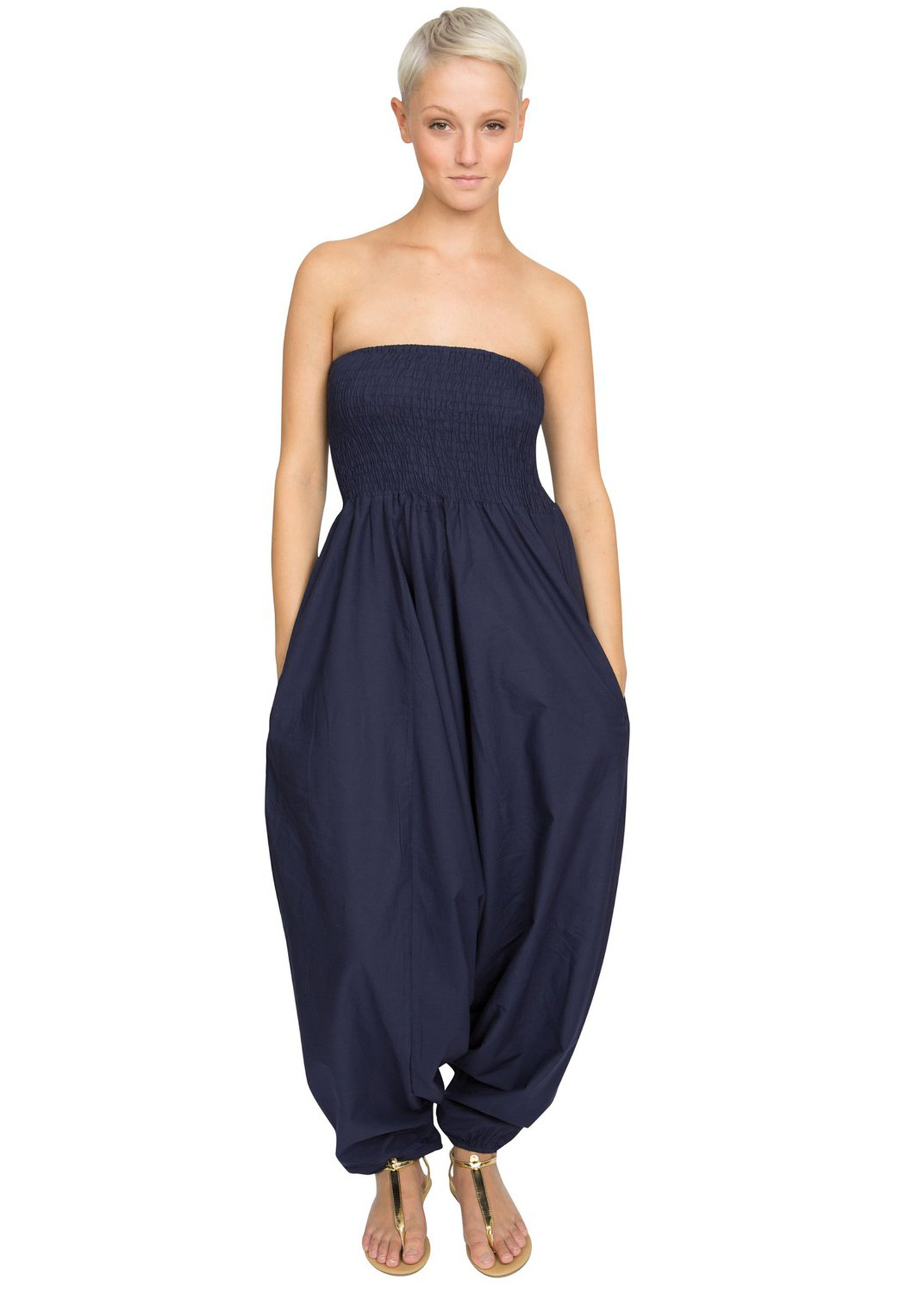4e7e042f016a 2 in 1 Cotton Maxi Harem Trouser Jumpsuit Midnight Blue – likemary