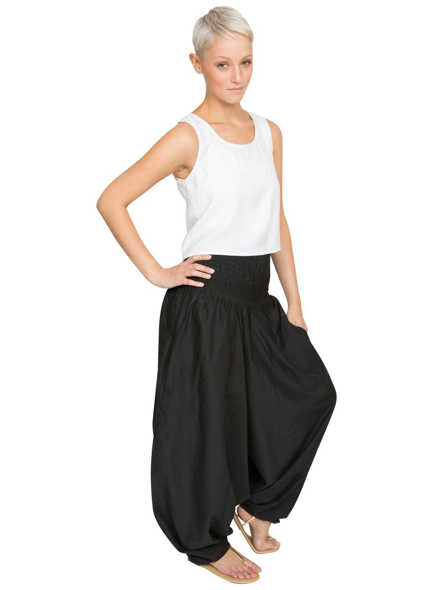 fd4531a6fa 2 in 1 Cotton Maxi Harem Trouser Jumpsuit Black – likemary