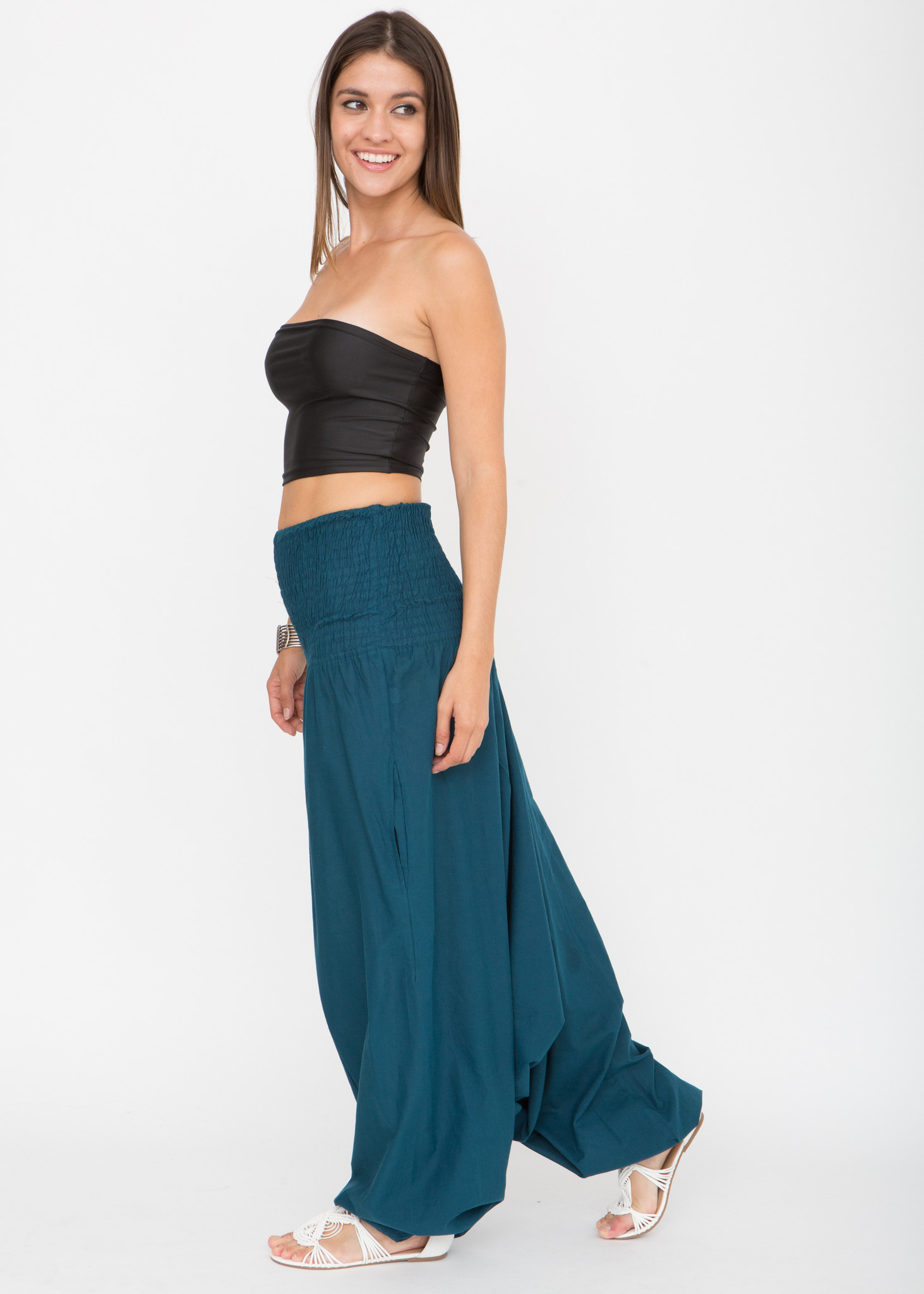 adc8cdeb2a 2 in 1 Cotton Maxi Harem Trouser Jumpsuit Teal – likemary