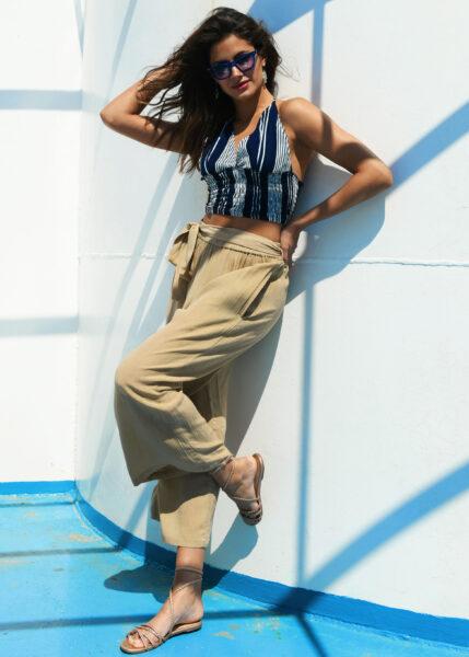 Culotte Crop Summer Trousers Crinkle Bisucuit Beige