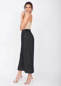 Culotte Crop Summer Trousers Crinkle Black