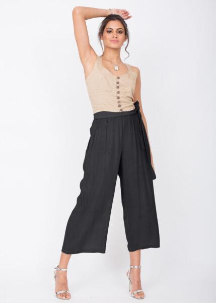 Culotte Crop Summer Trousers Crinkle Black