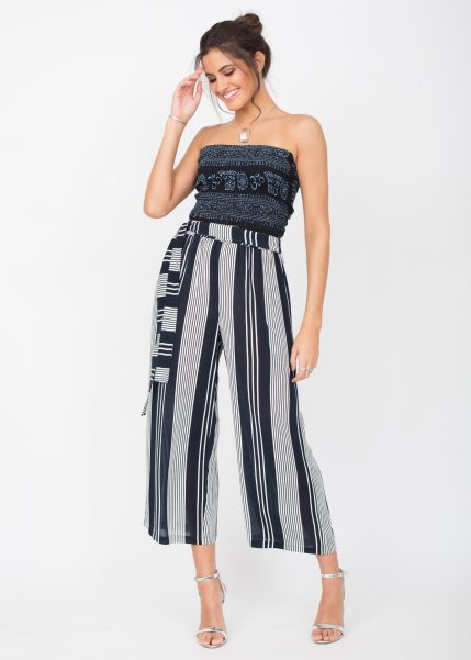 Culotte Crop Summer Trousers Crinkle Stripes