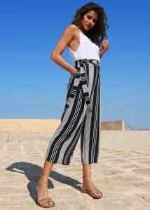 Culotte Crop Summer Trousers Crinkle Stripes