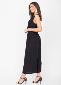 Culotte Jumpsuit Button Front Black