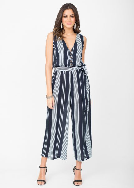 Culotte Jumpsuit Stripes Button Front