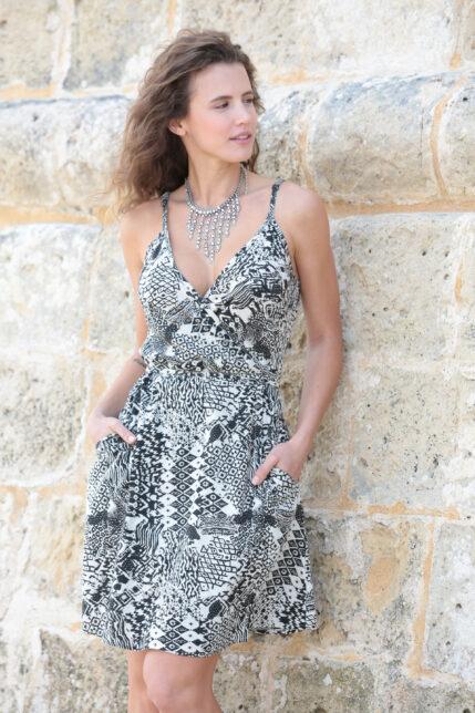 Desert Print Strappy Wrap Dress