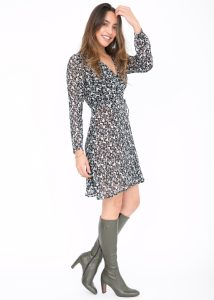 Double Layer Wrap Dress Forest Print