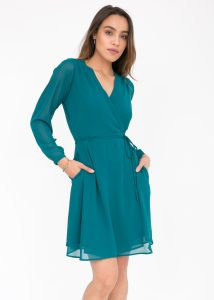 Double Layer Wrap Dress Teal
