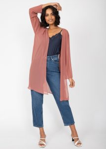 Elegant Sheer Longline Bell Sleeves Cardigan Rose Pink