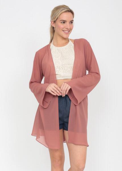 Elegant Sheer Longline Bell Sleeves Cardigan Rose Pink