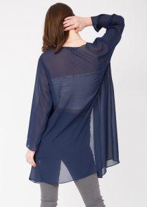 Elegant Sheer Longline Cardigan Blue