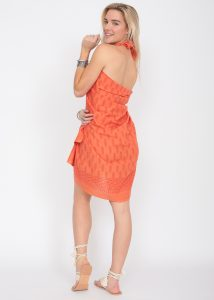 Feathers Block Print Orange Cotton Sarong