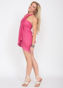 Feathers Block Print Pink Cotton Sarong