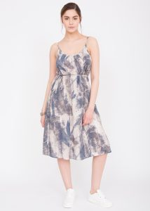 Floaty Feather Print Strappy Dress