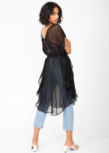 Floaty Kaftan Dress in Sheer Black with Silver