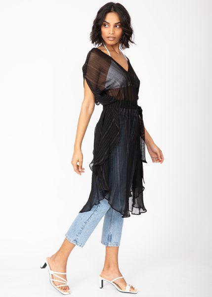 Floaty Kaftan Dress in Sheer Black with Silver
