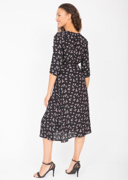 Floral Midi Ruffles Wrap Dress