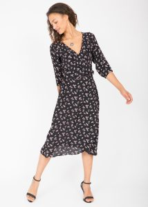 Floral Midi Ruffles Wrap Dress