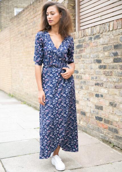 Floral Print Maxi Wrap Dress