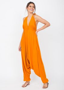 Halter Harem Jumpsuit Orange