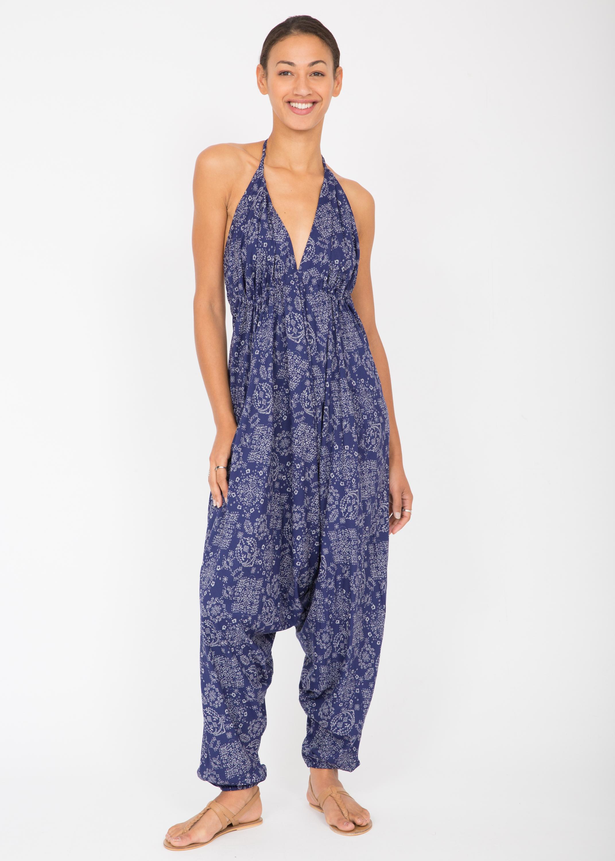 b27ac73090b Halter Harem Printed Jumpsuit Blue Florals – likemary