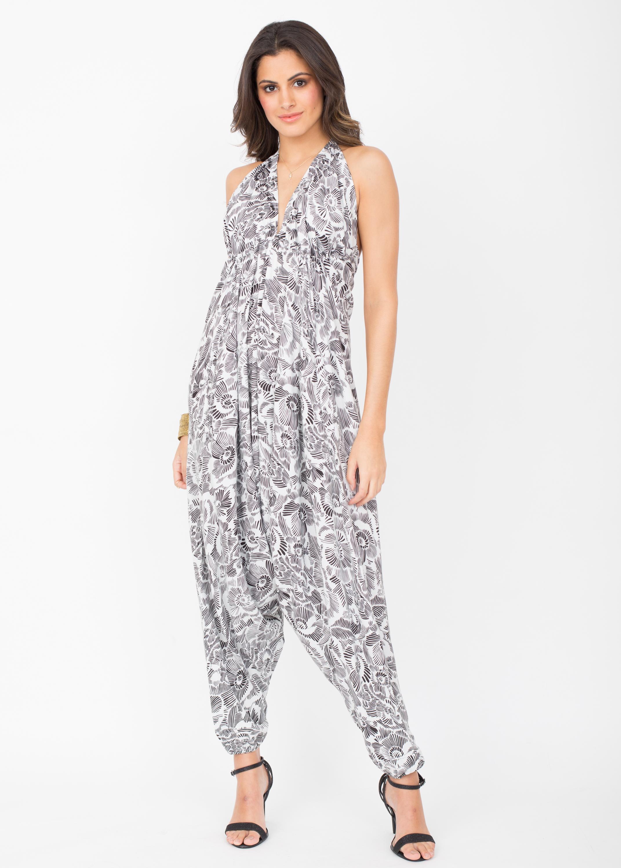4b89561180c Halter Harem Printed Jumpsuit White Florals – likemary