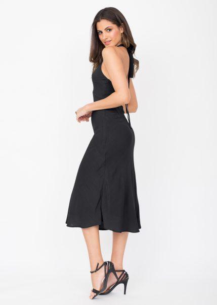 Halter Midi Dress Crinkle Black