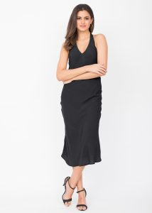 Halter Midi Dress Crinkle Black