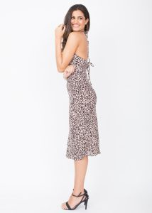 Halter Midi Dress Leopard Print