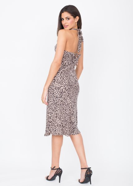 Halter Midi Dress Leopard Print