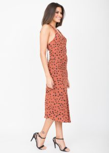 Halter Midi Dress Leopard Print Rust