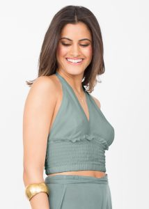 Halter Neck Crop Top in Green Leopard Print