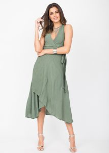 Halter Wrap Dress Verona Green