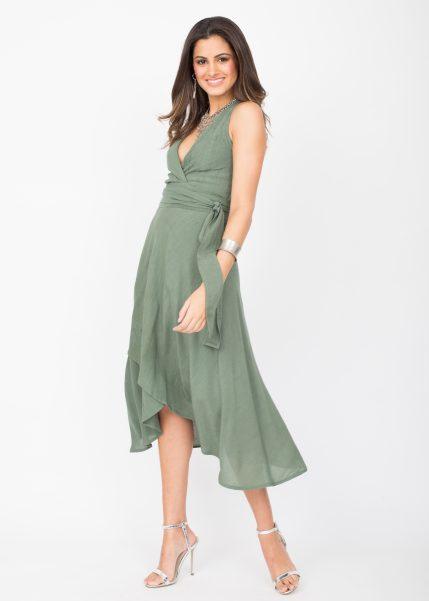 Halter Wrap Dress Verona Green