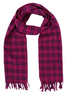Handloom Tweed Merino Wool Plaid Scarf Pink