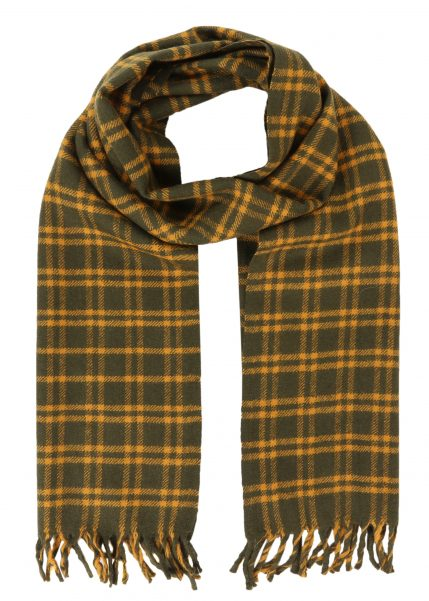 Handloom Tweed Merino Wool Plaid Scarf Yellow