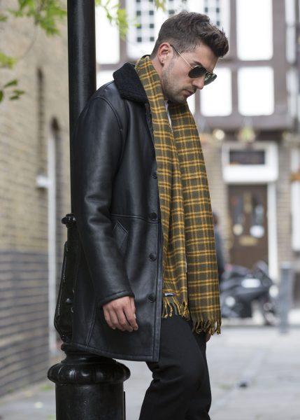 Handloom Tweed Merino Wool Plaid Scarf Yellow