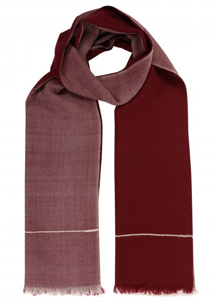 Handwoven Merino Scarf in Twill & Herringbone Mix Maroon