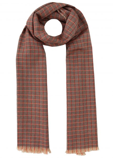 Handwoven Merino Wool Diamond Checks Scarf Orange