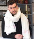 Handwoven Oversize Blanket Scarf with Crosses 100 X 200cm Cream