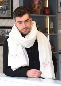 Handwoven Oversize Blanket Scarf with Crosses 100 X 200cm Cream
